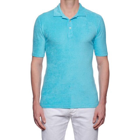 "FEDELI ""Mondial"" Solid Light Blue Terry Cloth Short Sleeve Polo Shirt NEW"