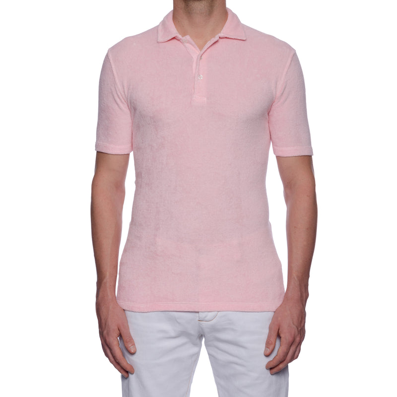 "FEDELI ""Mondial"" Solid Light Pink Terry Cloth Short Sleeve Polo Shirt NEW"