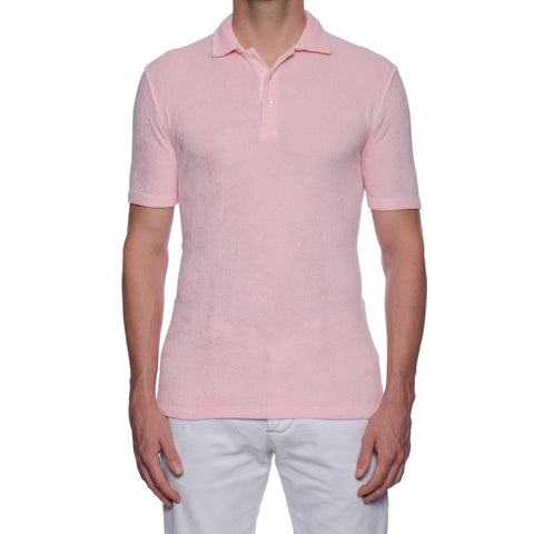 "FEDELI ""Mondial"" Solid Light Pink Terry Cloth Short Sleeve Polo Shirt 50 NEW US"