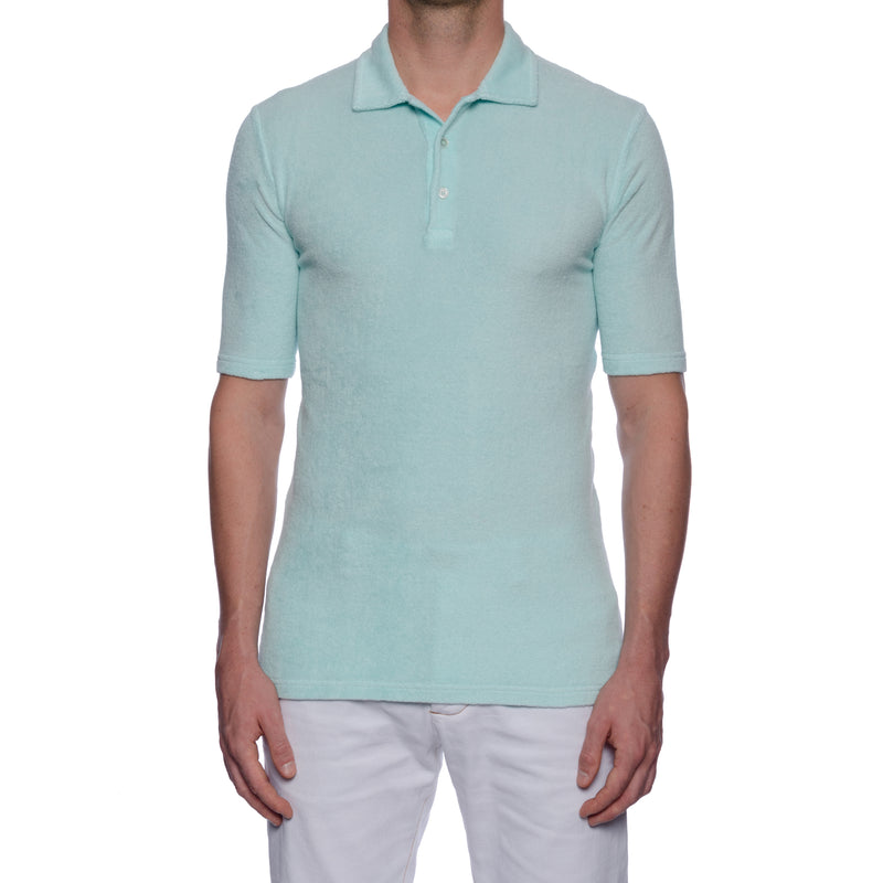 "FEDELI ""Mondial"" Solid Light Turquoise Terry Cloth Short Sleeve Polo Shirt NEW"