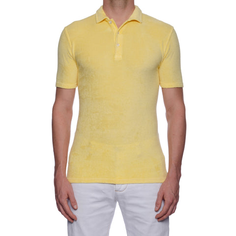 "FEDELI ""Mondial"" Solid Light Yellow Terry Cloth Short Sleeve Polo Shirt 48 NEW S"