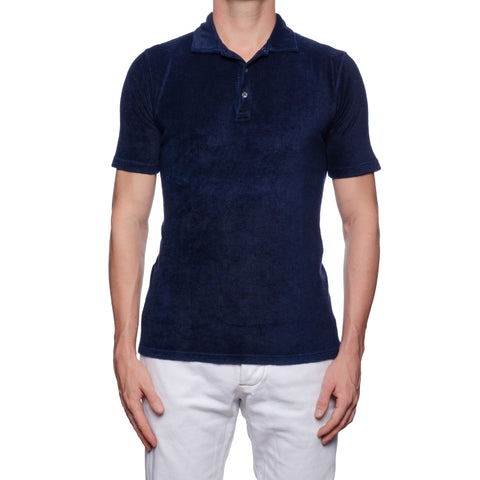 "FEDELI ""Mondial"" Solid Navy Blue Terry Cloth Short Sleeve Polo Shirt NEW"