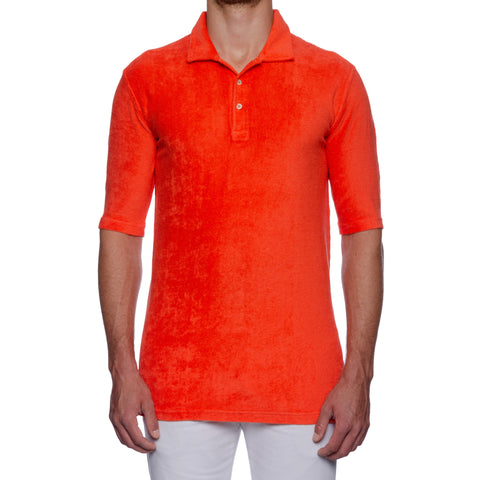 "FEDELI ""Mondial"" Solid Orange Terry Cloth Short Sleeve Polo Shirt 58 NEW US 3XL"