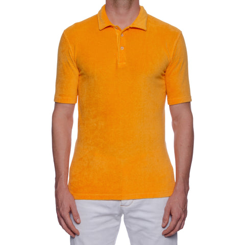 "FEDELI ""Mondial"" Solid Orange Terry Cloth Short Sleeve Polo Shirt 50 NEW US M"