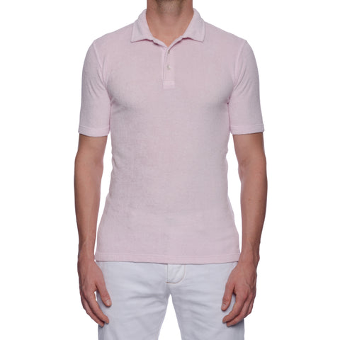 "FEDELI ""Mondial"" Solid Pink Terry Cloth Short Sleeve Polo Shirt 50 NEW US M"