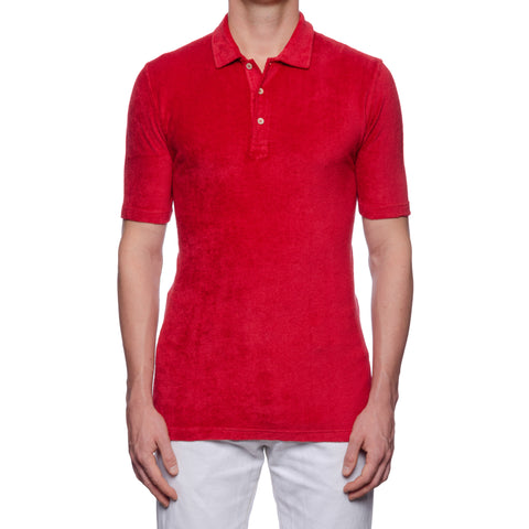 "FEDELI ""Mondial"" Solid Red Terry Cloth Short Sleeve Polo Shirt NEW"
