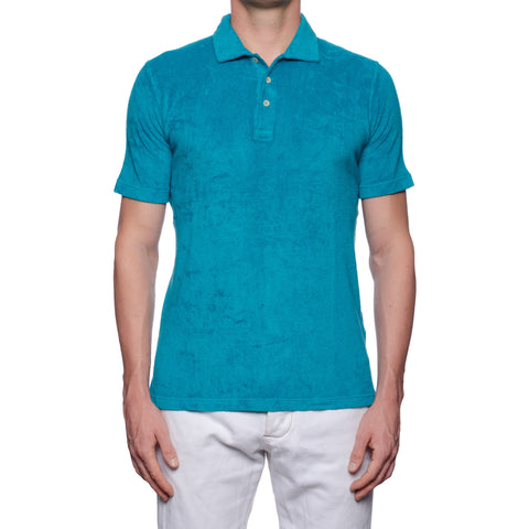 "FEDELI ""Mondial"" Solid Teal Blue Terry Cloth Short Sleeve Polo Shirt NEW"