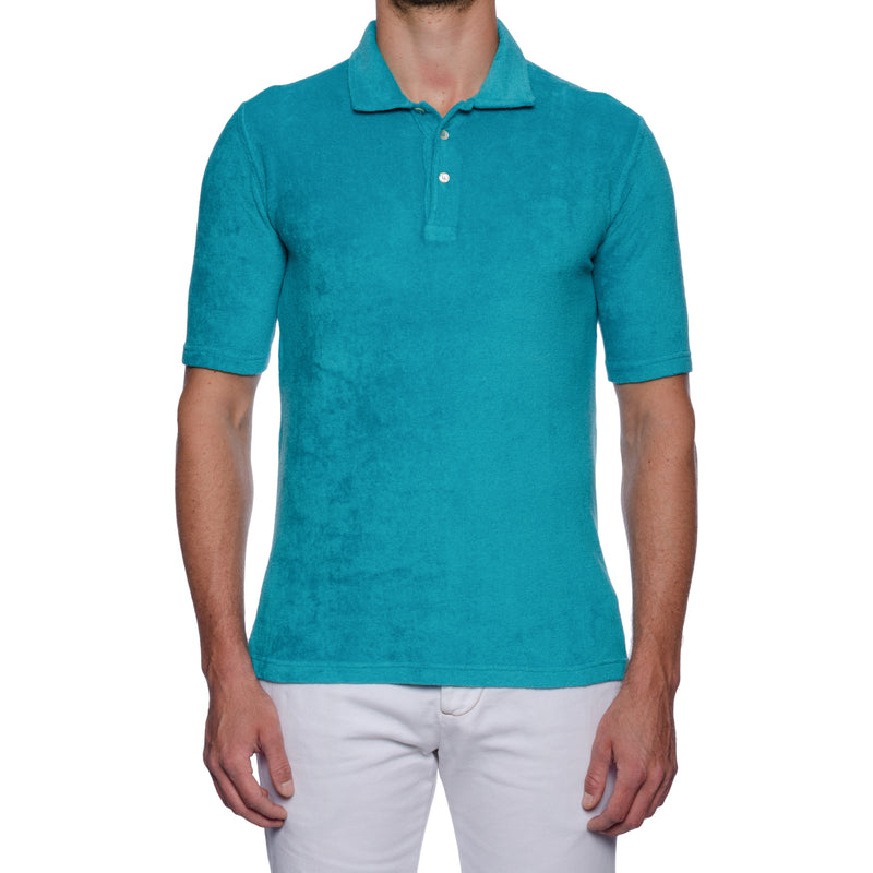 "FEDELI ""Mondial"" Solid Turquoise Terry Cloth Short Sleeve Polo Shirt NEW"