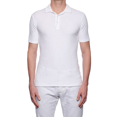 "FEDELI ""Mondial"" Solid White Terry Cloth Short Sleeve Polo Shirt NEW"