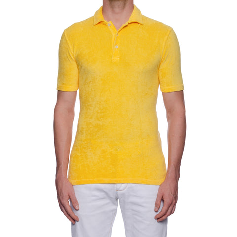 "FEDELI ""Mondial"" Solid Yellow Terry Cloth Short Sleeve Polo Shirt NEW"