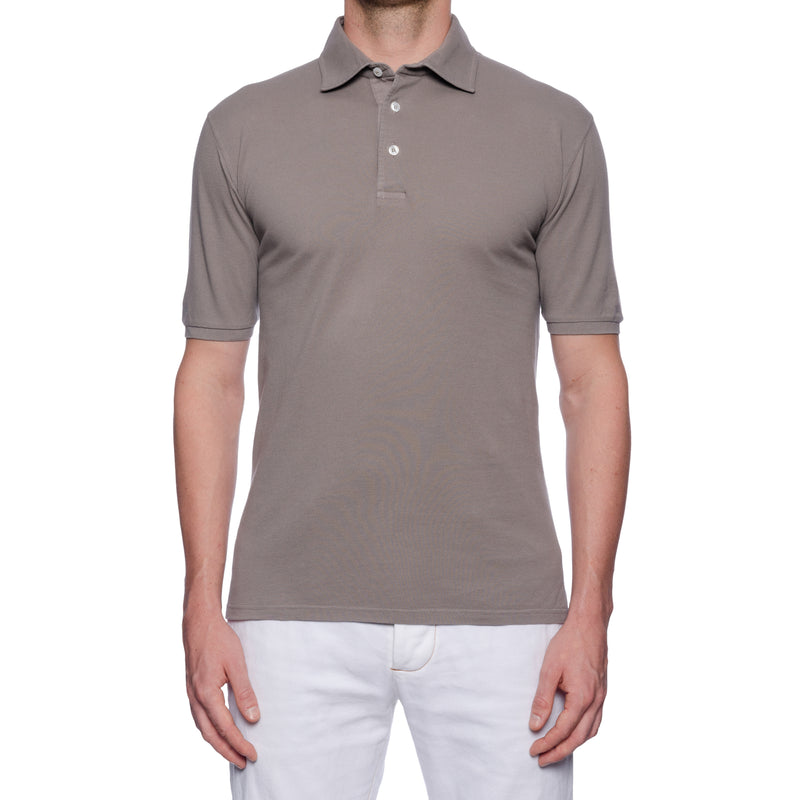 "FEDELI ""North"" Solid Gray Cotton Pique Frosted Short Sleeve Polo Shirt NEW"