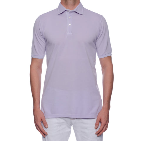 "FEDELI ""North"" Solid Lavender Cotton Pique Frosted Short Sleeve Polo Shirt NEW"