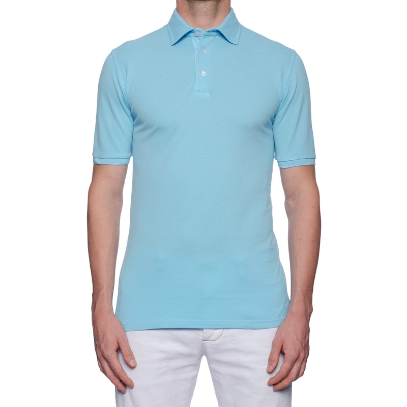"FEDELI ""North"" Solid Light Blue Cotton Pique Frosted Short Sleeve Polo Shirt NEW"