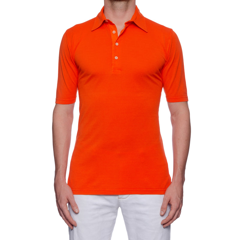 "FEDELI 34 LAB ""North"" Solid Orange Cotton Pique Frosted Short Sleeve Polo Shirt NEW"