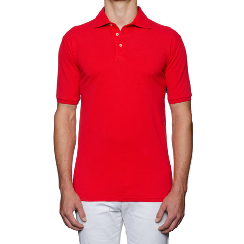 "FEDELI ""North"" Solid Red Cotton Pique Frosted Short Sleeve Polo Shirt 58 NEW 3XL"