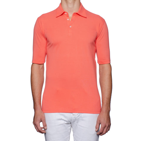 "FEDELI ""North"" Solid Salmon Cotton Pique Frosted Short Sleeve Polo Shirt NEW"