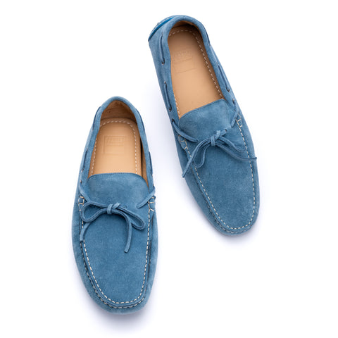 "FEDELI ""Rally"" Blue Suede Loafers Driving Car Shoes Moccasins EU 43 NEW US 10"
