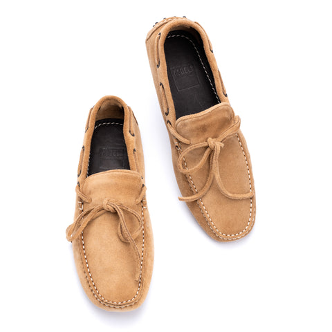 "FEDELI ""Rally"" Camel Brown Suede Loafers Driving Car Shoes Moccasins 40.5 NEW 7.5"