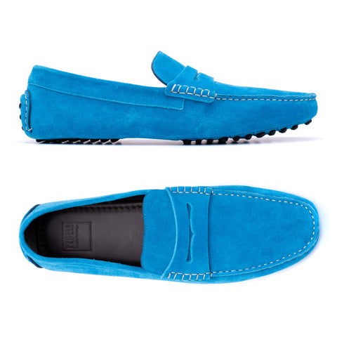 "FEDELI ""Roger"" Blue Suede Penny Loafers Driving Car Shoes Moccasins 43 NEW 10"