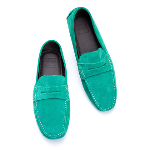 "FEDELI ""Roger"" Green Suede Penny Loafers Driving Car Shoes Moccasins 43 NEW 10"