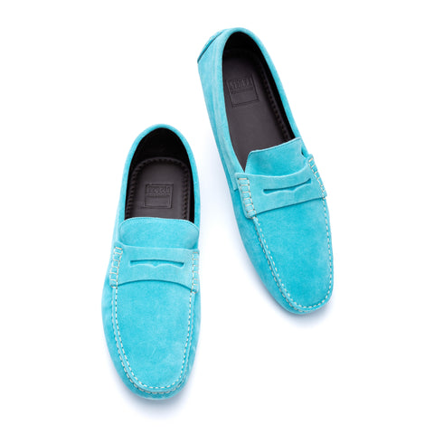 "FEDELI ""Roger"" Turquoise Suede Penny Loafers Driving Car Shoes Moccasins 44 NEW 11"