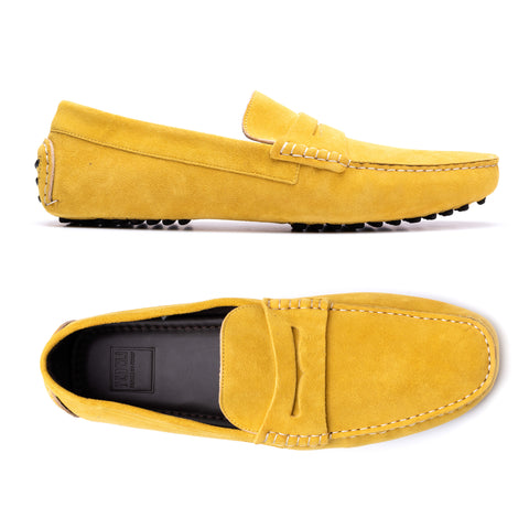 "FEDELI ""Roger"" Yellow Suede Penny Loafers Driving Car Shoes Moccasins 43 NEW 10"