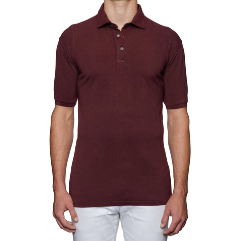 FEDELI Solid Aubergine Cotton Pique Frosted Short Sleeve Polo Shirt 58 NEW 3XL