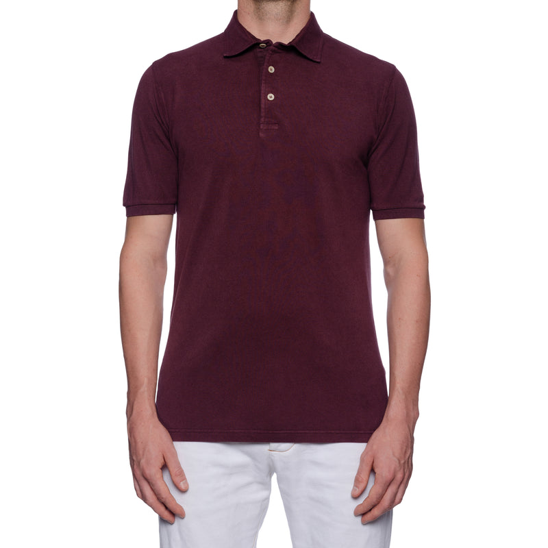 FEDELI Solid Aubergine Cotton Pique Frosted Short Sleeve Polo Shirt EU 48 NEW US S