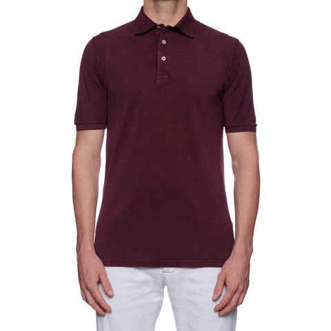FEDELI Solid Aubergine Cotton Pique Frosted Short Sleeve Polo Shirt 48 NEW US S