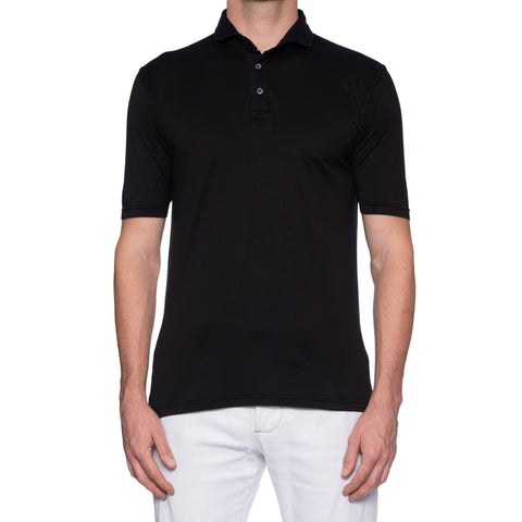 FEDELI Solid Black Cotton Frosted Short Sleeve Jersey Polo Shirt EU 52 NEW US L