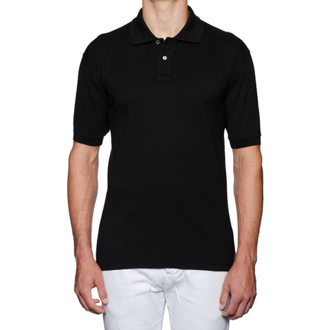 FEDELI Solid Black Cotton Frosted Short Sleeve Jersey Polo Shirt 60 NEW US 4XL