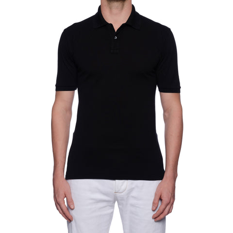 FEDELI Solid Black Cotton Pique Frosted Short Sleeve Polo Shirt EU 52 NEW US L
