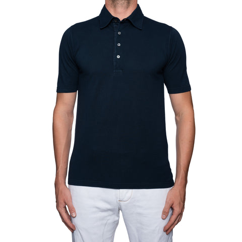 "FEDELI Solid Blue Cotton Pique ""Dusty System"" Polo Shirt EU 48 NEW US S"