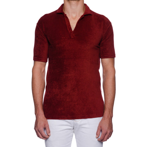 FEDELI Solid Brick Red Terry Cloth Short Sleeve V-Neck Polo Shirt 58 NEW US 3XL