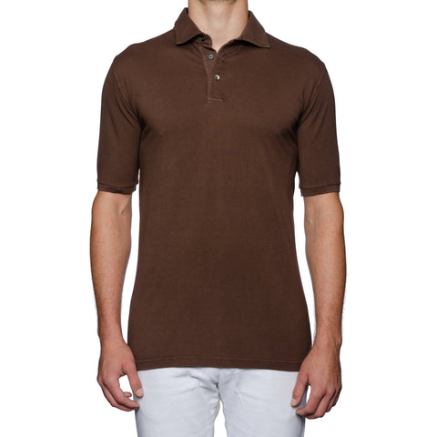 FEDELI Solid Chocolate Brown Cotton Pique Frosted Short Sleeve Polo Shirt 54 NEW XL
