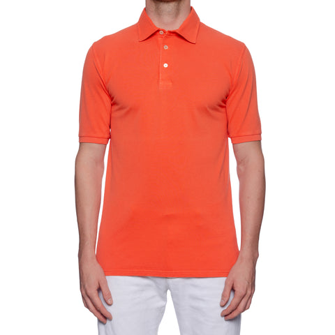 FEDELI Solid Coral Cotton Pique Frosted Short Sleeve Polo Shirt NEW