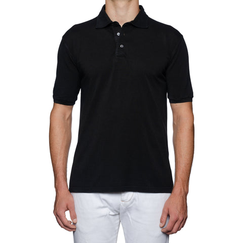 FEDELI Solid Faded Black Cotton Pique Frosted Polo Shirt EU 56 NEW US 2XL