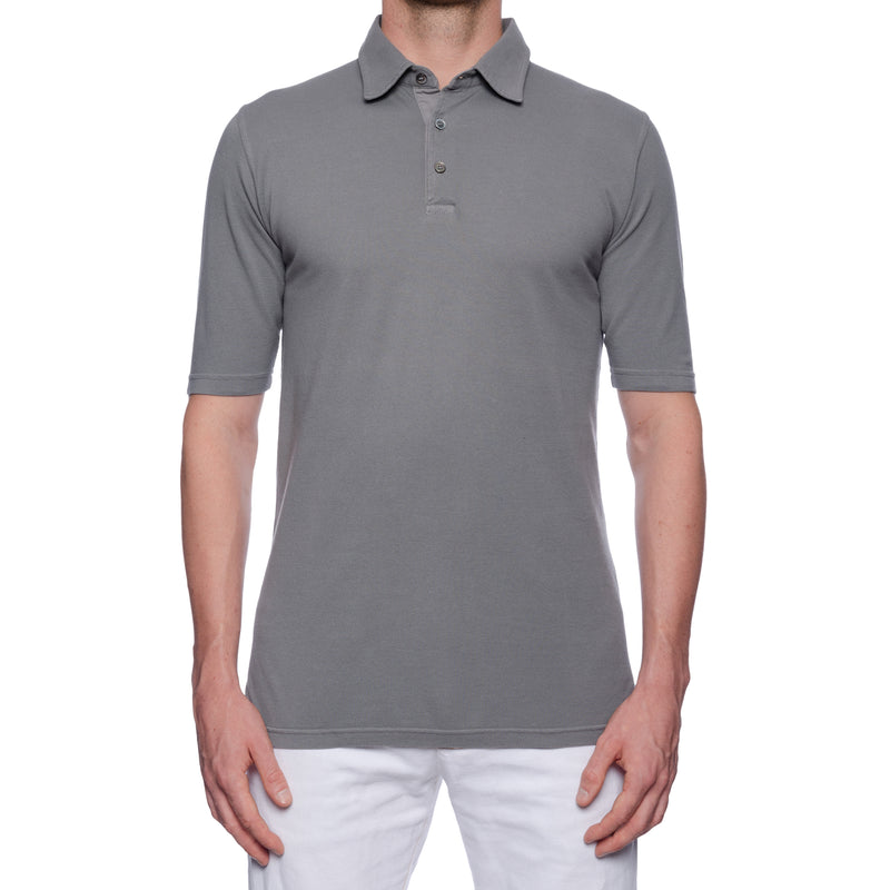 FEDELI Solid Gray Cotton Pique Frosted Short Sleeve Polo Shirt EU 48 NEW US S