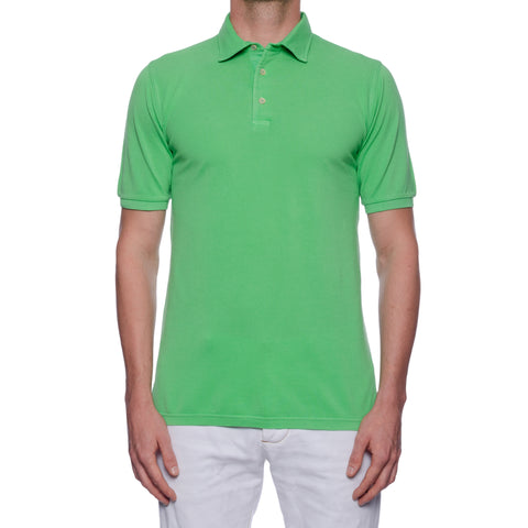 FEDELI Solid Green Cotton Pique Frosted Short Sleeve Polo Shirt NEW