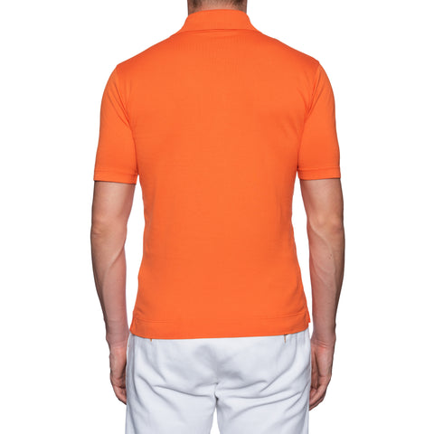FEDELI Solid Orange Cotton Frosted Short Sleeve Jersey Polo Shirt 46 NEW US XS