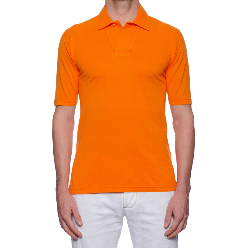 FEDELI 34 LAB Solid Orange Cotton Pique Frosted Short Sleeve Polo Shirt NEW