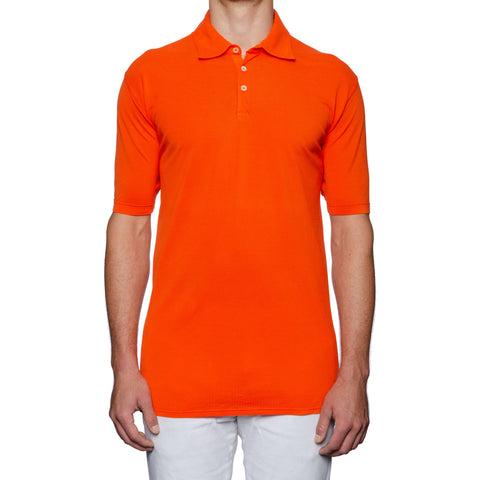 FEDELI Solid Orange Cotton Pique Frosted Short Sleeve Polo Shirt 58 NEW US 3XL