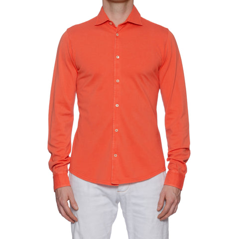 "FEDELI ""Steve"" Solid Coral Cotton Pique Frosted Long Sleeve Polo Shirt NEW"