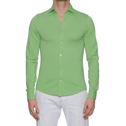 "FEDELI ""Steve"" Solid Green Cotton Pique Frosted Long Sleeve Polo Shirt NEW"