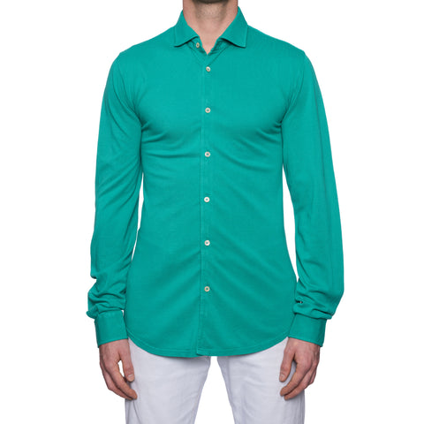 "FEDELI ""Steve"" Solid Green Cotton Pique Long Sleeve Polo Shirt EU 52 NEW US L"