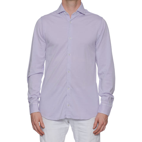 "FEDELI ""Steve"" Solid Lavender Cotton Pique Frosted Long Sleeve Polo Shirt NEW"