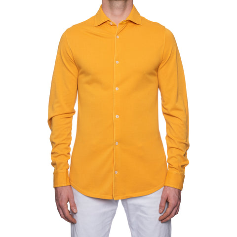 "FEDELI ""Steve"" Solid Orange Cotton Pique Long Sleeve Polo Shirt EU 50 NEW US M"