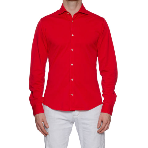 "FEDELI ""Steve"" Solid Red Cotton Pique Frosted Long Sleeve Polo Shirt NEW"
