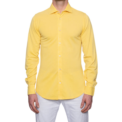 "FEDELI ""Steve"" Solid Yellow Cotton Pique Long Sleeve Polo Shirt EU 50 NEW US M"