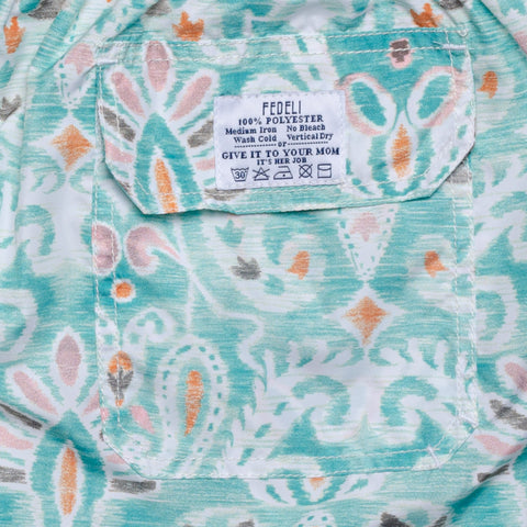 FEDELI Made in Italy Aqua Blue Floral Madeira Airstop Swim Shorts Trunks NEW 2XL